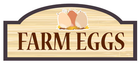 floorboards: Farm Eggs store stylish wooden store sign over a white background
