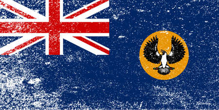 The flag of the Australian state of South Australia with grunge Illustration
