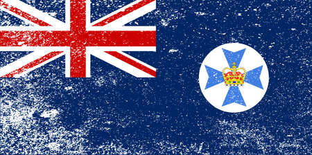 The flag of the Australian state of Queensland with grunge