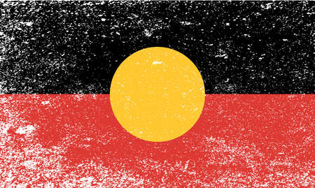 oz: The flag of the Australian Aboriginal people with grunge Illustration