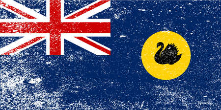 The flag of the state of Western Australia with grunge