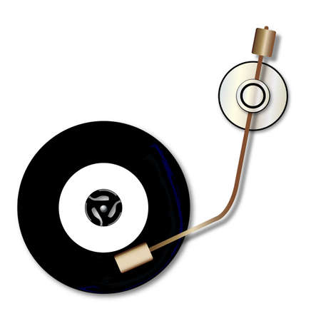 A typical vinyl record with a blank labell turning on a record player over a white background.