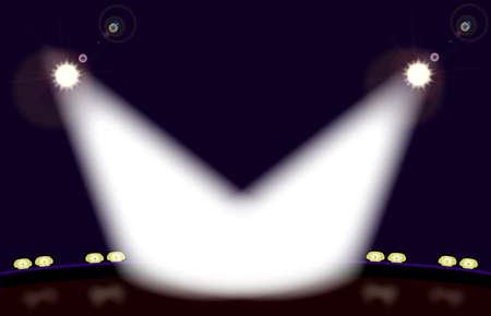 spot lit: A stage front spot lit by two spotlights