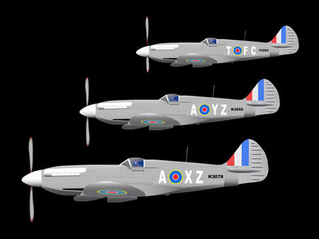 heros: 3 World War II fighter planes out on patrol against a black background.