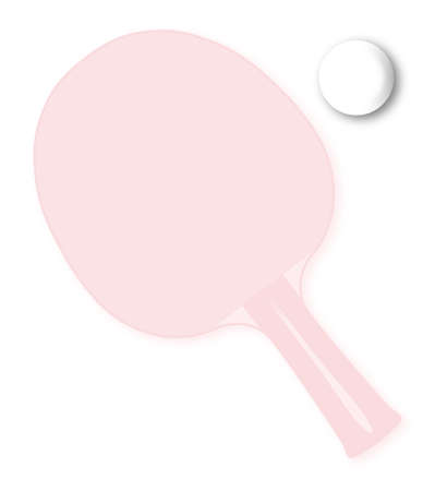 A faded table tennis bat or racket with ball over a white background