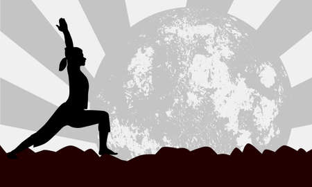 vitality: A young women performing a yoga asana against a moon background Illustration