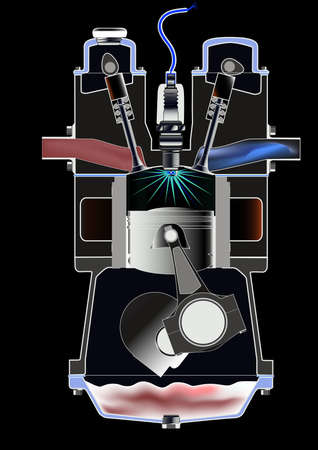 ignition: A four stroke petrol engine on its ignition stroke Illustration