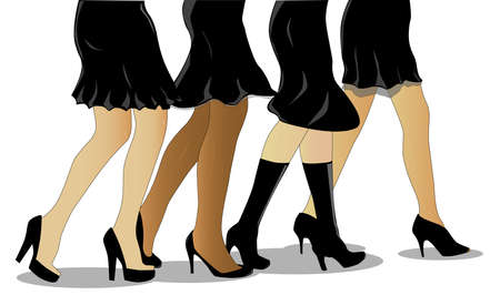 heals: A collection of female legs walking all wearing a little black dress