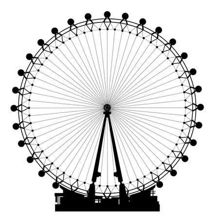 The London Eye big wheel in silhouette against a white background.