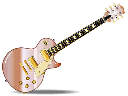 paul: The definitive rock and roll guitar in metal pink isolated over a white background.