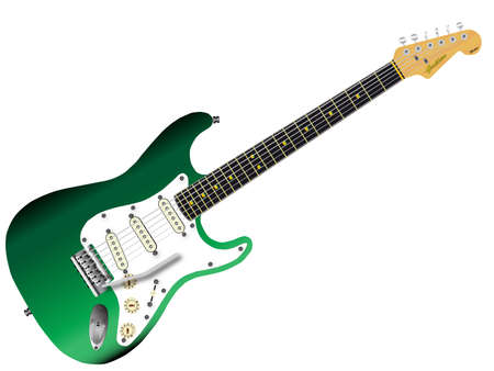 strat: A traditional solid body electric guitar in green isolated over white. Illustration