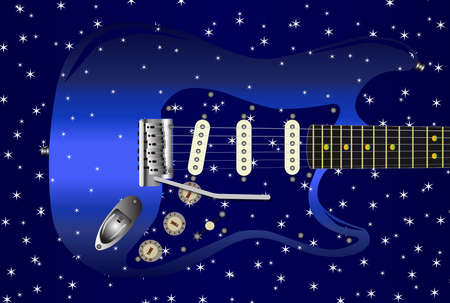 strat: A blue star studded background with a series of small stars over a blue guitar. Illustration