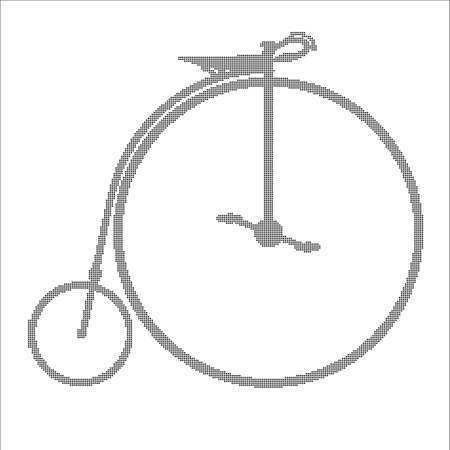 spoked: A typical penny farthing bicycle in halftone over a white background.
