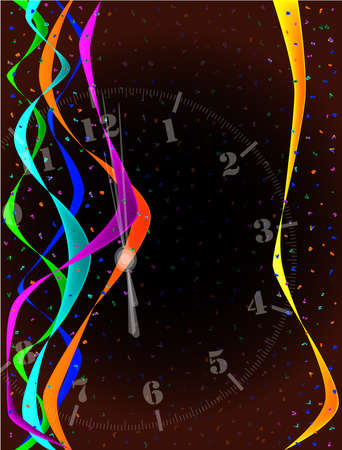 A clock showing midnight with streamers and confetti