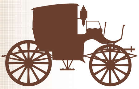 edward: A typical Victorian or Georgian style carriage in silhouette over a halftone background
