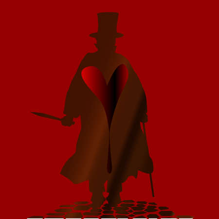 cobbled: Jack the Ripper on the cobble streets of London over a blackened heart Illustration
