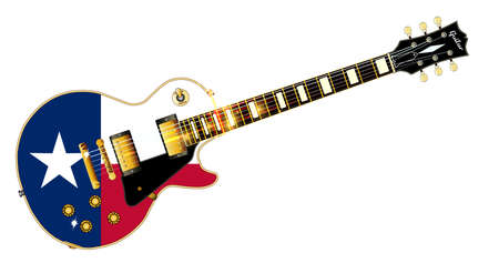 paul: The definitive rock and roll guitar with the Texas flag isolated over a white background.