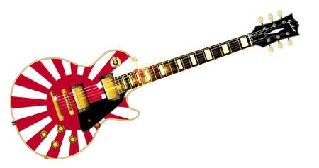 The definitive rock and roll guitar with the Japenese flag isolated over a white background.