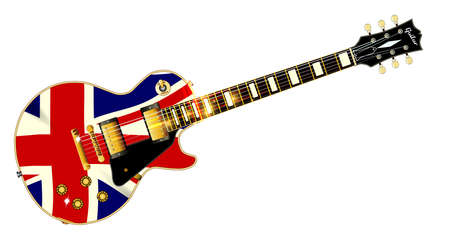 The definitive rock and roll guitar with the Texas flag isolated over a white background.