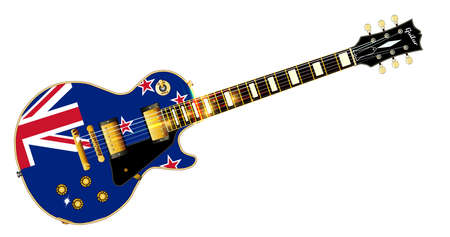 The definitive rock and roll guitar with the New Zealand flag isolated over a white background.