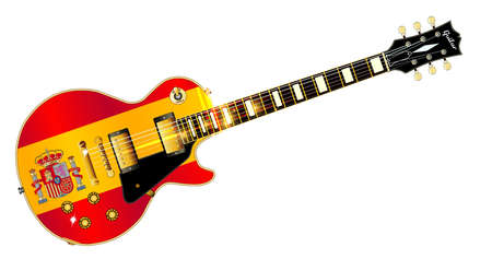 headstock: The definitive rock and roll guitar with the Spanish flag isolated over a white background.