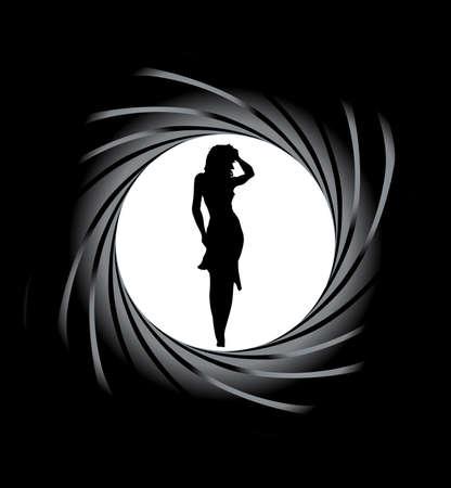 pistolas: Mirando hacia abajo el ánima de un cañón de ánima rayada en una mujer atractiva