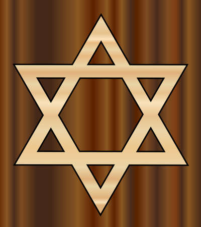 jewish faith: A depiction of the Star of David in wood shades with a darker wood background Illustration