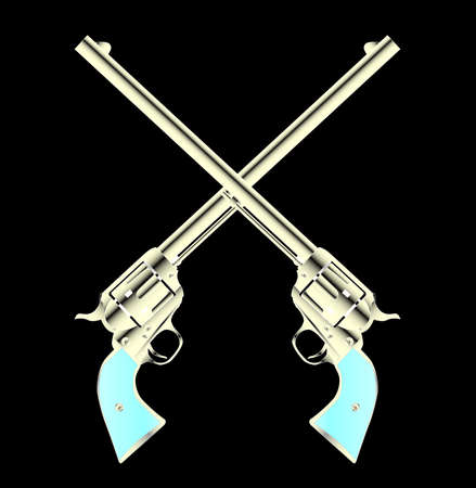 six shooter: Two long barel six guns crossed set on a color background