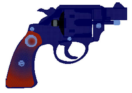 A snub nose handgun in halftone isolated over a white background. Illustration