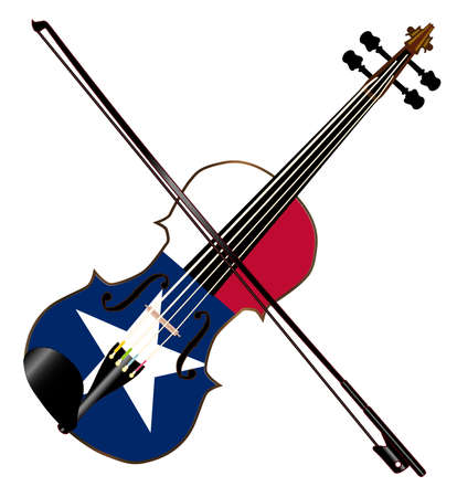 texan: A typical violin with Texan flag and bow isolated over a white background
