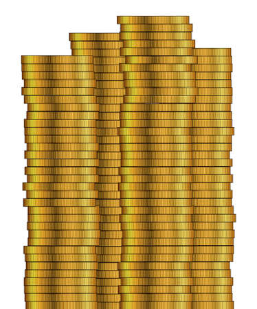 piles: Piles of gold coins isolated on a white background Illustration