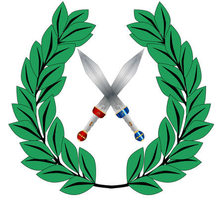 victor: A crown of olives and a two crosse gladiator sword isolated on a white background
