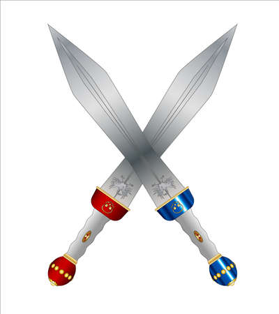 soldati romani: A pair of crossed swords as used by the Roman soldiers and gladiators isolated on a white background.