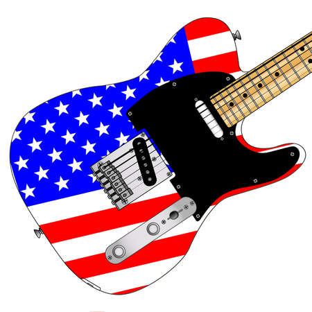 A classic electric guitar with the Stars and Stripes flag ovr white