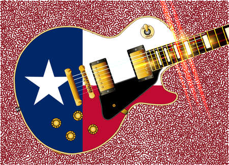 electrics: The definitive rock and roll guitar with the Texas flag isolated over a white background.