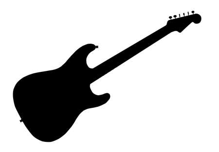 A typical electric guitar in silhouette over a white background