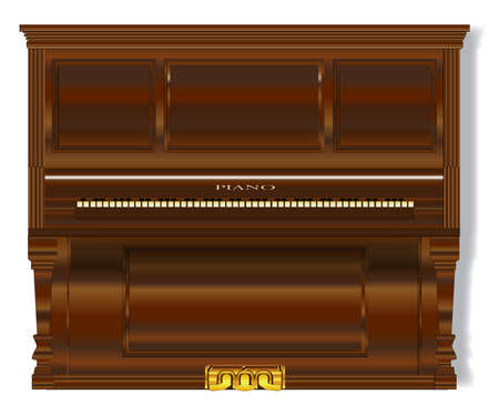 A very old upright standard piano over a white background