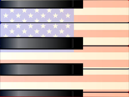 old glory: Black and white piano keys with a tint of age and imposed on an Old Glory flag