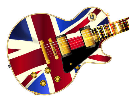 union jack flag: The definitive rock and roll guitar with the Union Jack Flag flag isolated over a white background.