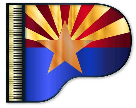 Le drapeau de l'Arizona mis en un grand piano noir traditionnel Vecteurs