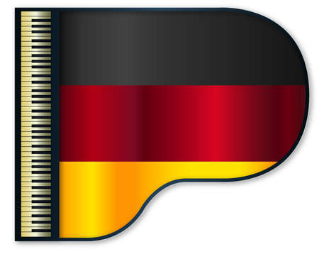 stringed: The German flag set into a traditional black grand piano Illustration