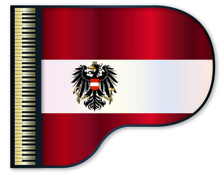 stringed: The Austrian flag set into a traditional black grand piano