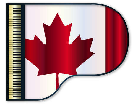 canadian flag: The Canadian flag set into a traditional black grand piano Illustration