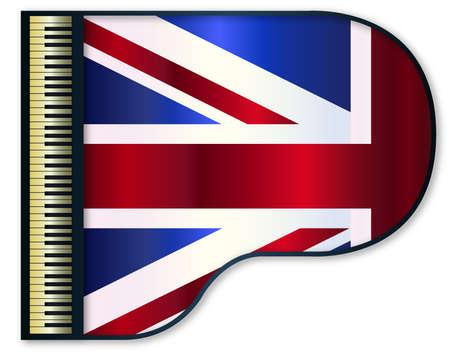 stringed: The United Kingdom flag set into a traditional black grand piano