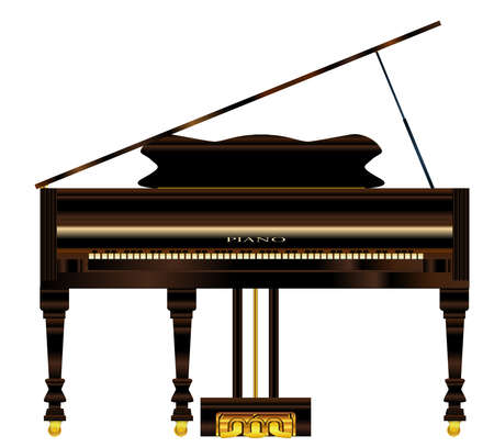 pianoforte: A very old grand piano over a white background