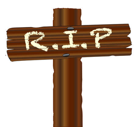 rest in peace: A wooden cross with the words RIP isolated over a white background Illustration