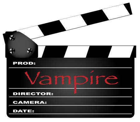 home video camera: A typical movie clapperboard with the legend Vampire isolated on white. Illustration