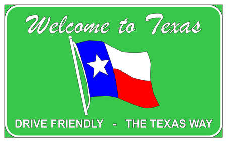 trafic: Welcome to Texas welcomung road trafic sign over a white background Illustration