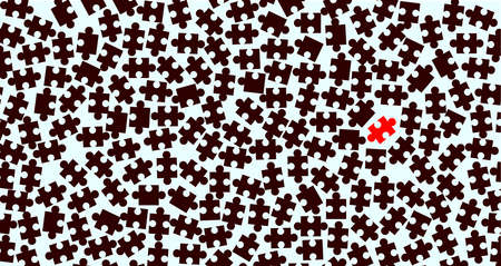 missing link: Random dark jigsaw pieces with an odd one over a light background