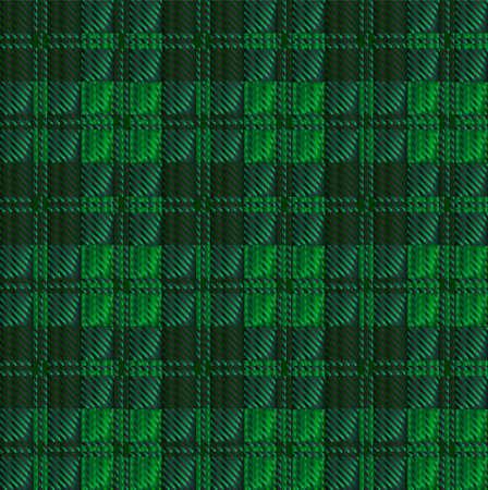 weaved: Green and black tartan wool weaved material